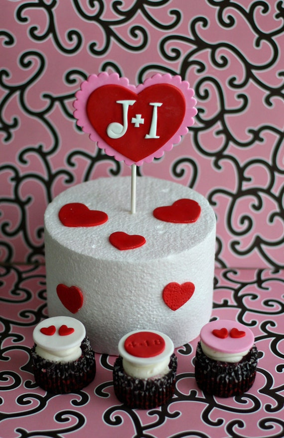 Wedding Engagement Monogram Heart Fondant Cake Topper Plus Cupcake Toppers for a Bridal Shower or Engagement Party