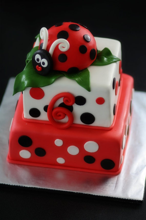 Ladybug Fondant Cake Topper and Matching Polka Dot and Age Cake Decorations Perfect for a Ladybug Party