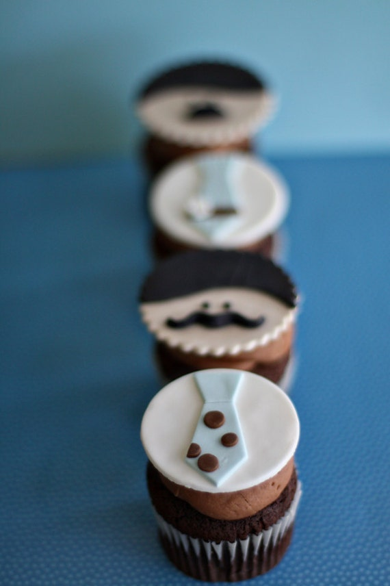 Mustache Men and Tie Fondant Toppers for Decorating Cupcakes, Cookies or other Sweet Treats