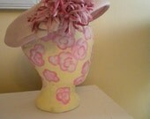 RESERVED Pink Lemonade Flower Straw Hat