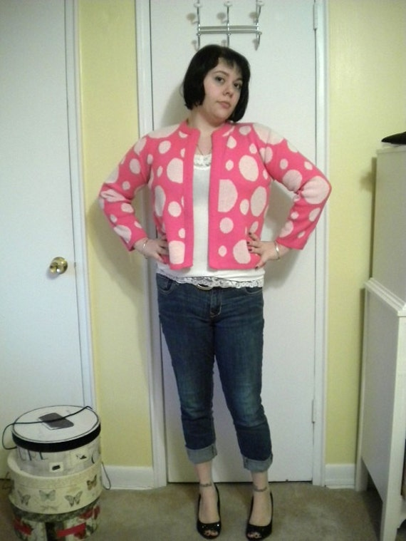 Super Funky Hot Pink Polka Dot 1960s Cardigan