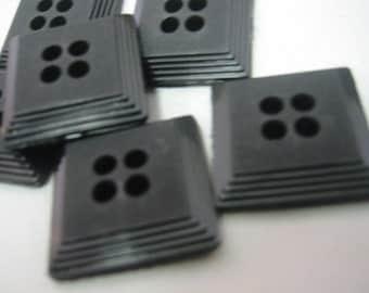 "Black button -  Square Black button - medium  Lot of 6 - 4 hole - 3/4"""