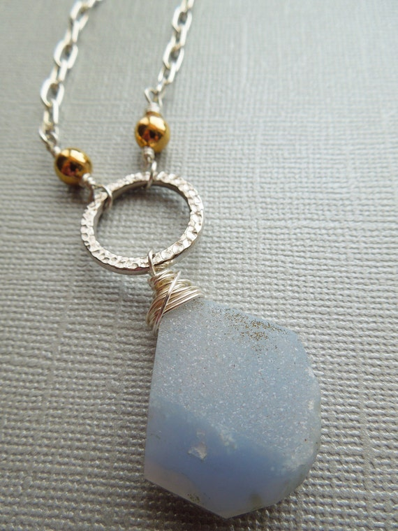 Blue Agate Druzy Necklace - Wire-Wrapped Powder Blue Druzy - Silver and Gold Long Gemstone Necklace