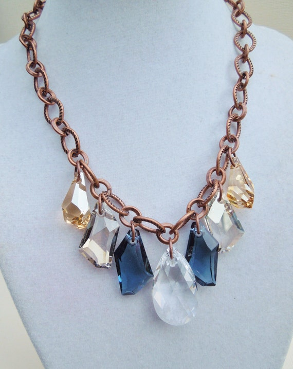 Montana Sky - Bold Statement Necklace - Copper and Multicolored Crystal
