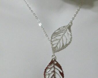 Sterling Silver Leaf Lariat Necklace