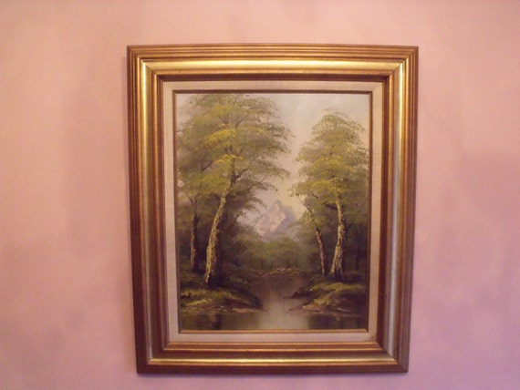Sale Antique Delightful original Oil Painting canvas Landscape by M. Kime Signed framed C 60's.Home decor. Office decor.Wall hanging. Gift