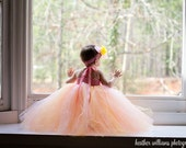 Pastel Pink, Yellow, Peach Tulle Flowergirl Tutu Dress for Weddings, Flowergirls, Bridal, Pageants