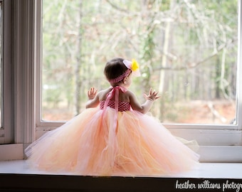 Pastel Pink, Yellow, Peach Tulle Flowergirl Tutu Dress for Weddings, Flowergirls, Bridal, Pageants