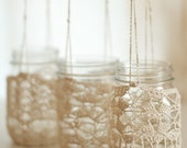 Set of 3 Crochet Lace Mason Jar Hangers