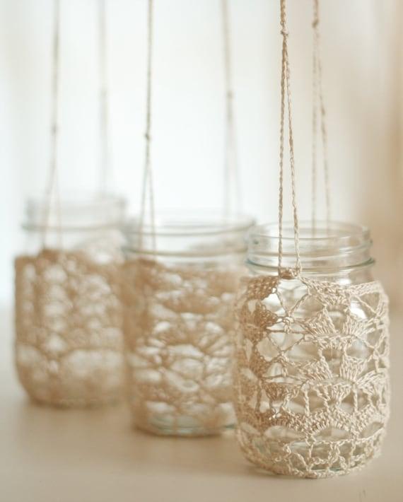 Set of 3 Crochet Lace Mason Jar Hangers