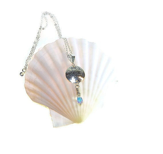 Vine Patterned Sterling Silver Pendant with an Aurora Borealis Crystal Briolette P109