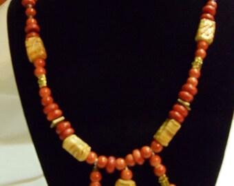 "26"" Orange, Gold, and Copper Necklace, necklace, orange, copper, gold"
