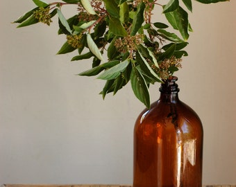 Vintage Brown Glass Bottle, Amber Bottle