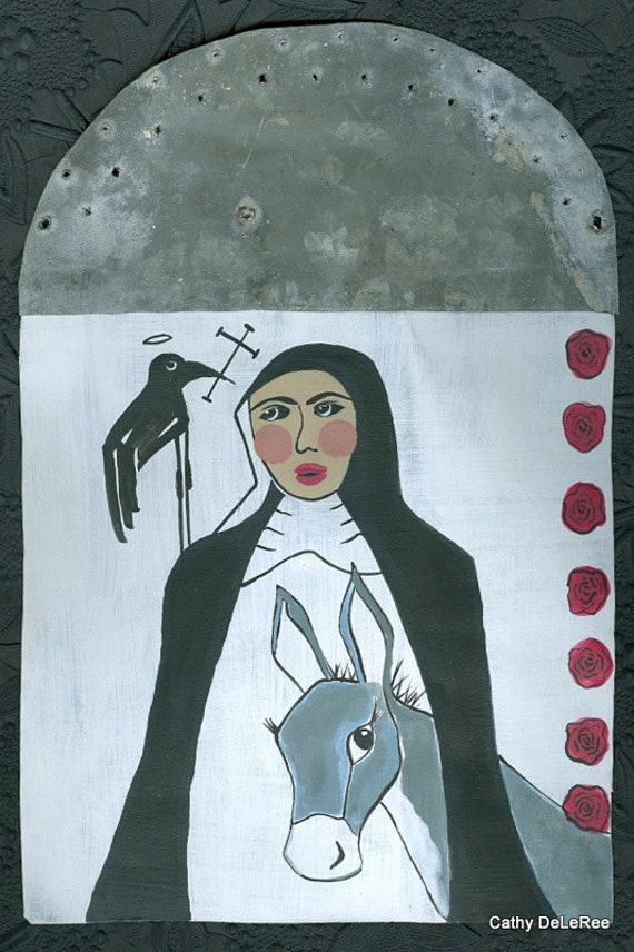 Nun - Holy Donkey Habit - Salvaged Metal / Tin Retablo - Original Art Painting
