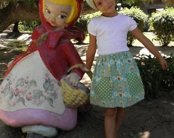 Girls homesewn blue cuckoo clock skirt and kercheif for back to school. Size 5, 6, and 7, or made to order.