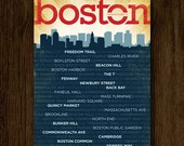 "Boston Neighborhoods Poster - Boston Skyline Art - 18""x24"" - GeenyusPosters"