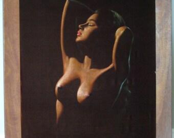 SALE--MATURE--Ben Alano Original Painting - Nude Hawaiian Hula Girl / Island Girl Manila on VELVET