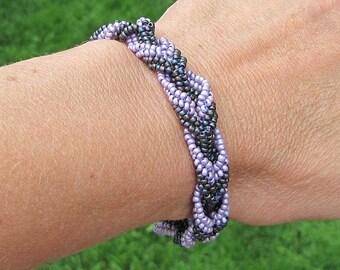 Lavender and Green Braided Bracelet - Beadwork Bracelet - Size Medium for 7.5 Inch Wrist - Seed Bead Bracelet