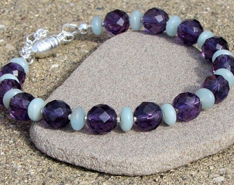 7 Inch Amethyst and Amazonite Bracelet - Magnetic Clasp Gemstone - February Birthstone - High Quality Dressy - For Her - Purple & Sage Green