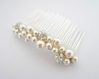 Bridal Haircomb - Pearl Haircomb - Swarovski Pearl Hair Comb - Bridesmaids Hair Accessory - Rhinestone Beads - Renee