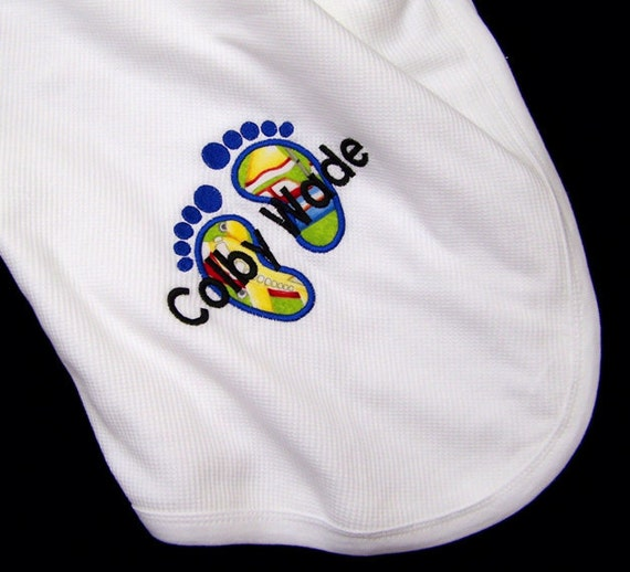 Personalized Thermal Baby Blanket Fabric Appliqued Feet