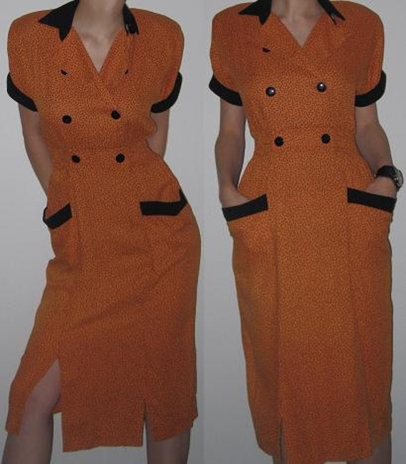 80s P.J. Klein Orange and Black Dress. Size 5/6. Cinched Elastic Waist, Buttoned Front, 2 Pockets, and Collar.