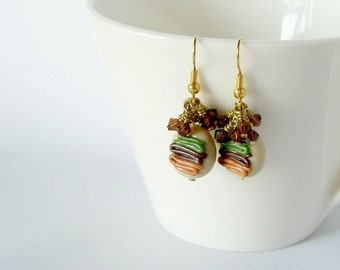 Striped Cluster Earrings, Polymer Clay and Swarovski Crystals, Cabana
