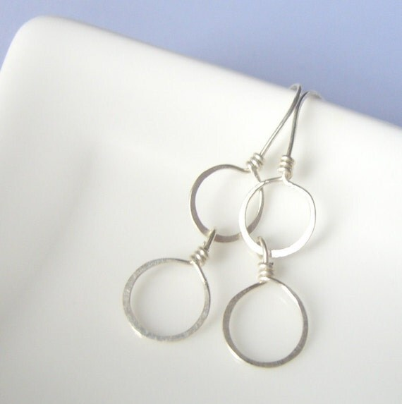 Sterling Silver Circle Earrings, Silver Circles, MTO, Everyday Earrings