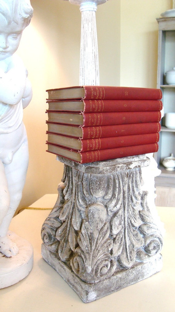 Red Instant Collection Vintage Books Set of Six