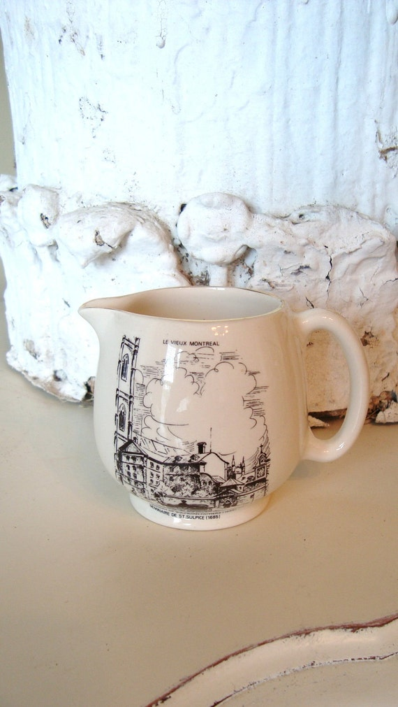 Vintage Seminary Ironstone Pitcher English Staffordshire Montreal Canada French