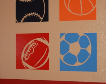4 sports wall decals - made from vinyl home decor boys room baseball football soccer basketball