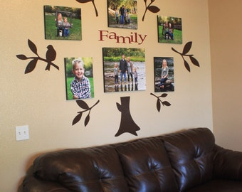 Vinyl Family Tree Wall Decal - photo gallery, picture wall. Living room. Genealogy, home family
