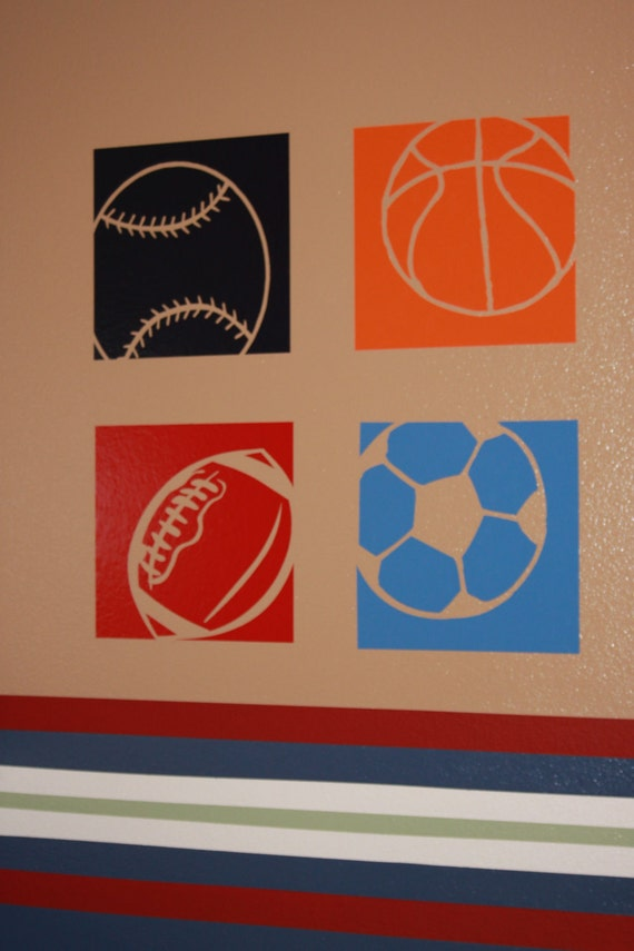 Items similar to 4 sports wall decals made from vinyl for Stickers decorativos
