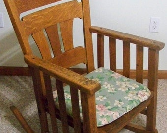 Vintage Mission Chair Solid Oak Rocking Chair