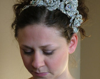 Rhinestone Crystal Auroura Borealis Silver Headpeice Tiara converts to Necklace BLING