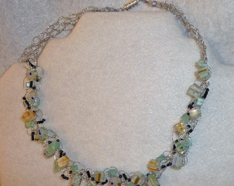 Bead and Silver Wire Necklace