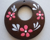 1 Pair Handpainted Wood Hoops, Coral Flowers on Dark Brown Circles, Wooden Jewelry Supplies, 50mm One Pair