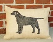 Handmade Stenciled Labrador Retriever Silhouette Burlap Pillow -Dog Breed Pillow- Dog Lover Gift -12x16- Pillow Insert Included