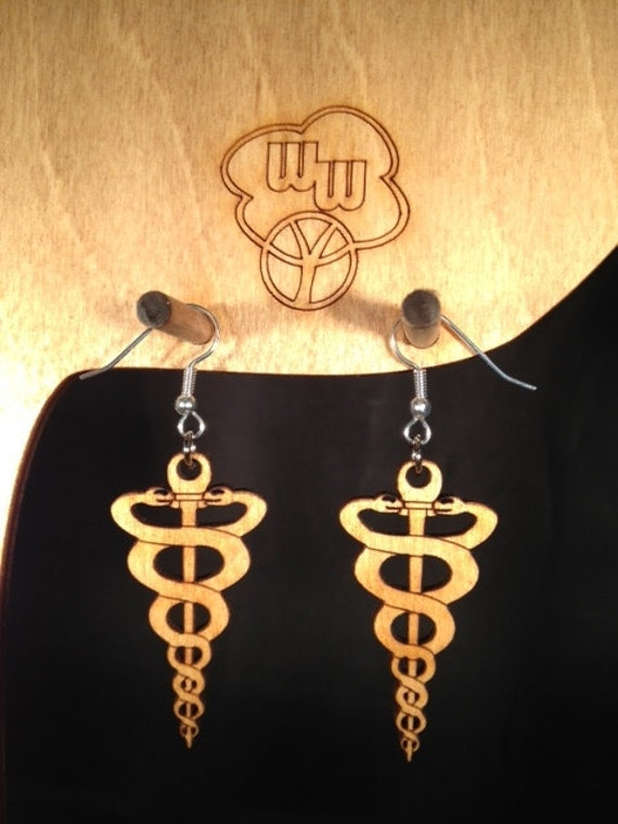 Medical Caduceus Snake Earrings