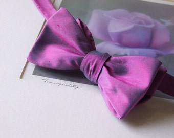 Fuchsia/Blue bow tie in pure silk, self tie, for men - ships worldwide from France