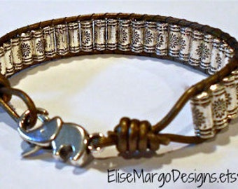 Elephant Clasp Tibetan Prayer Wheel Silver Beads Leather Wrap Bead Bracelet Weaved Lucky