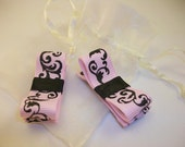 Set of 2 Pink and Black Damask Tuxedo Bow Clippies