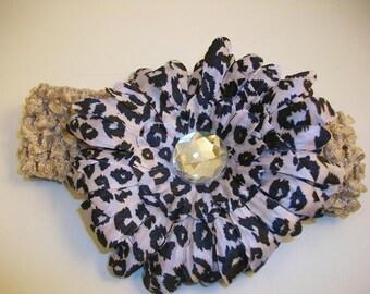 Leopard Print Gerber Daisy Bling Clip with Matching Crocheted Headband