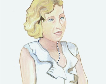 Fine ARt Color photograph Print from Original Watercolor Ethel a Double Crosser