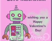 Robot Valentine's Day Cards for Kids INSTANT DOWNLOAD Printable I'm Just a Love Machine 5 colors 2 sizes