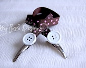 On-the-Go Bib Clips / Nursing Cover Clips Brown & Pink Polka Dots