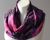 Cotton Jersey Infinity Scarf Circle Loop Cowl Tube Scarf Purple Pink Black Animal Print Scarf