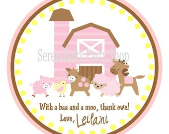 Girly Farm Collection in Pink and Yellow: Favor Tags