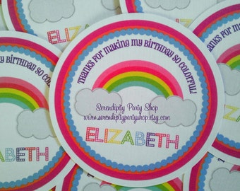 Colorful Rainbow Collection Favor Tag -Baby Shower Tags, Personalized Favor Tags, Set of 12 Thank You Tags, Gift Tags