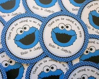 Set of 12 Personalized Favor Tags -Blue Monster- Blue- Dots- Stripes -Thank You Tag -Gift Tag -Baby Shower -Birthday-Sticker-Cookie Monster